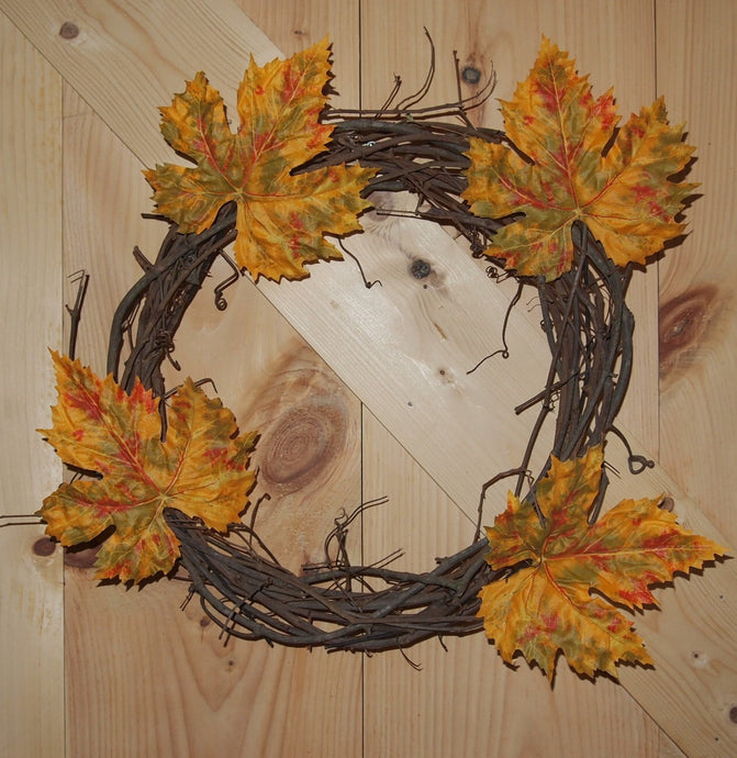 Autumn Grapevine Wreath - Yellow Leaves