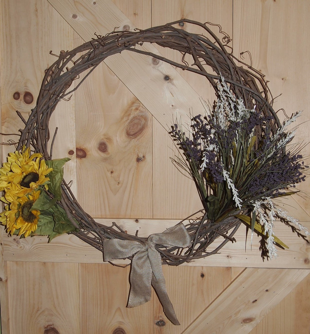 Summer Grapevine Wreath - Flowers & Burlap Bow