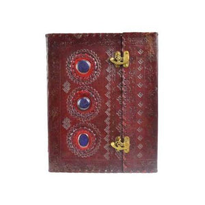 "10"" X 13"" Stone Leather Blank Book W- Latch - Nakhti By Kali J.N.S"