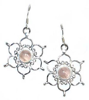 "1.25"" Lotus Rose Quartz Earrings - Nakhti By Kali J.N.S"