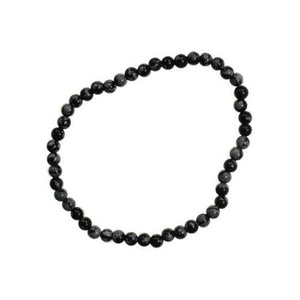 4mm Snow Flake Obsidian Stretch Bracelet - Nakhti By Kali J.N.S