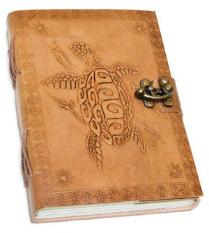 "5"" X 7"" Turtle Embossed Leather W- Latch - Nakhti By Kali J.N.S"