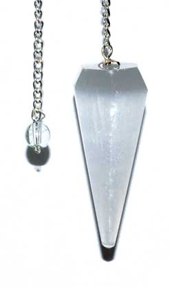 6-sided 7 Chakra Selenite Pendulum - Nakhti By Kali J.N.S