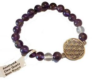 8mm Amethyst- Quartz With Flower Of Life - Nakhti By Kali J.N.S