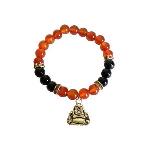 8mm Carnelian- Black Onyx With Buddha - Nakhti By Kali J.N.S