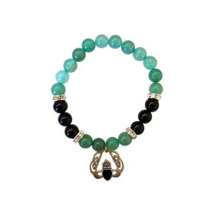 8mm Green Aventurine- Black Onyx With Heart - Nakhti By Kali J.N.S