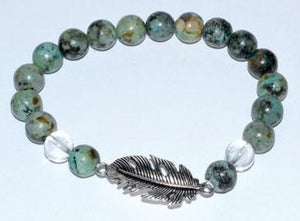 8mm Turquoise- Quartz With Feather - Nakhti By Kali J.N.S
