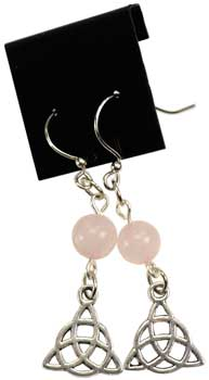 Rose Quartz Triquetra Earrings