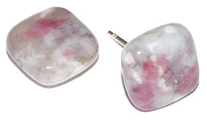 Pink Tourmaline Quartz Stud Earrings