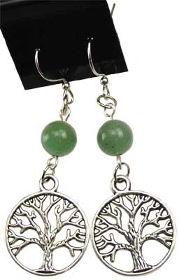 Green Aventurine Tree Of Life Earrings