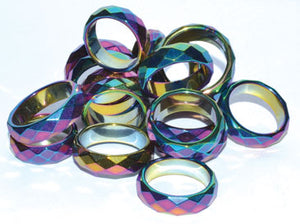 Rainbow Magnetic Hematite Faceted Rings (50-bag)