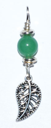 Leaf Pendant With Green Aventurine Bead