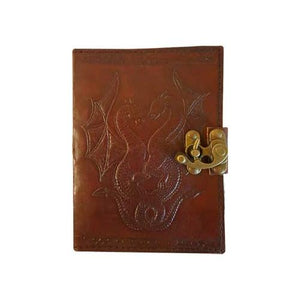 Double Dragon Leather Blank Book W- Latch