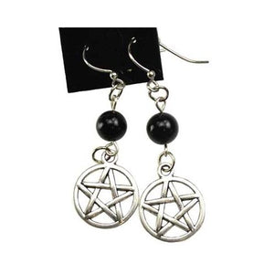 Black Onyx Pentagram Earrings