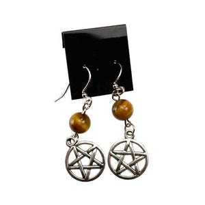 Tiger's Eye Pentagram Earrings