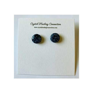 Snowflake Obsidian Stud Earrings