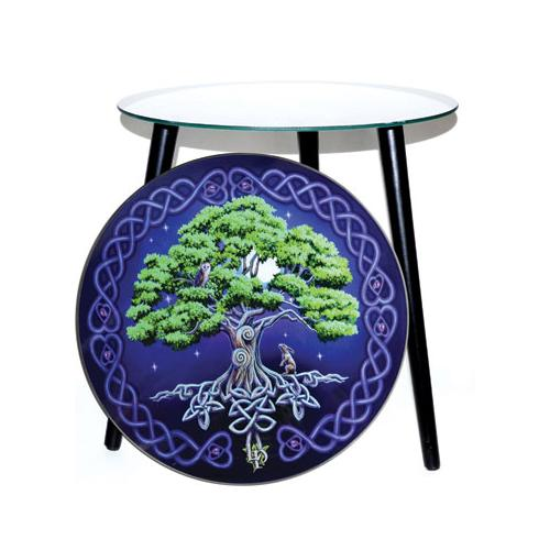 "15 1-2"" Dia Tree Of Life Glass Altar Table"