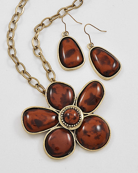 Antique Gold Metal/Brown Acrylic Necklace Set