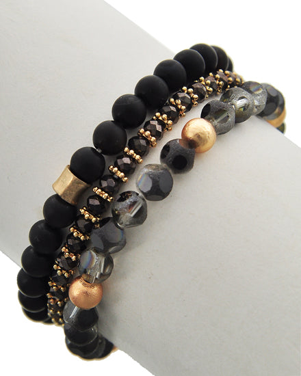 Black Diamond & Hematite Glass Bracelet