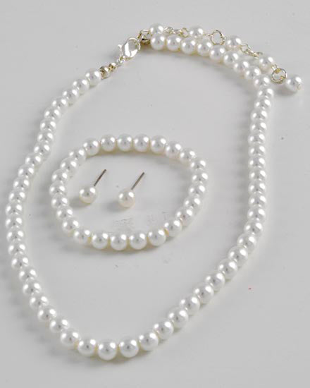 (Kids) White Synthetic Pearl Set