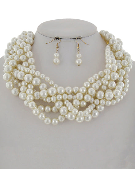 Cream Pearl Synthetic Statement Set