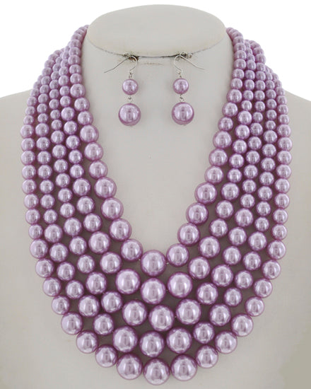 Light Purple Pearl Synthetic Graduating Necklace Set