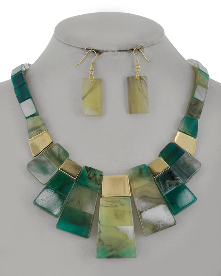 Gold/Teal Cellulose Acetate Necklace Set