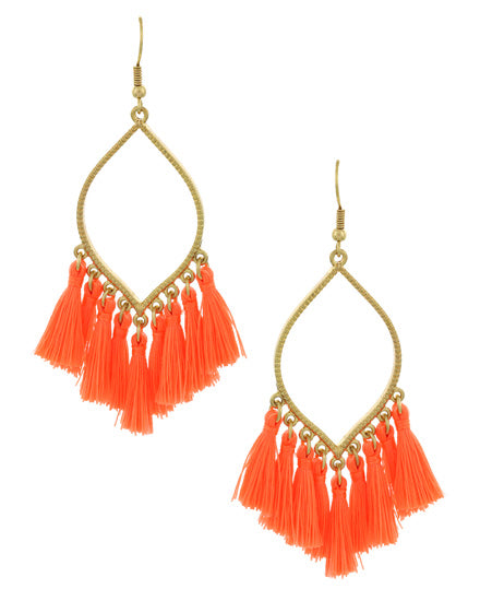 Neon Orange Dangle Tassel Earrings