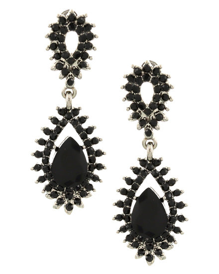 Black Rhinestone Teardrop Earrings Set