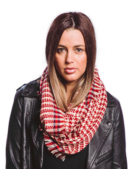 Red Houndstooth Infinity Scarf