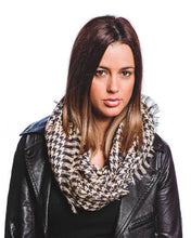 Load image into Gallery viewer, Denim Houndstooth Infinity Scarf