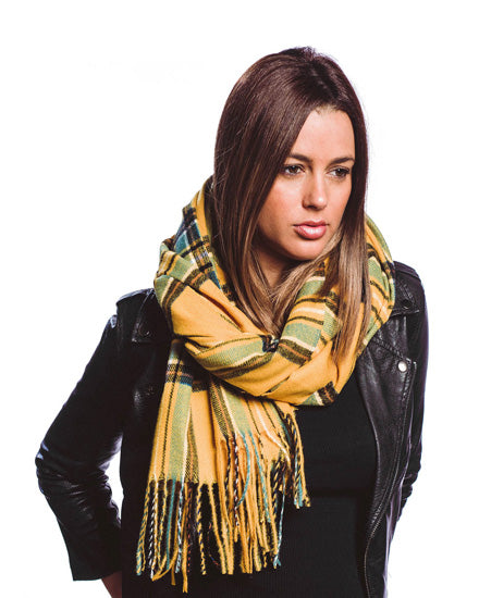 Yellow Plaid Soft Oblong Scarf