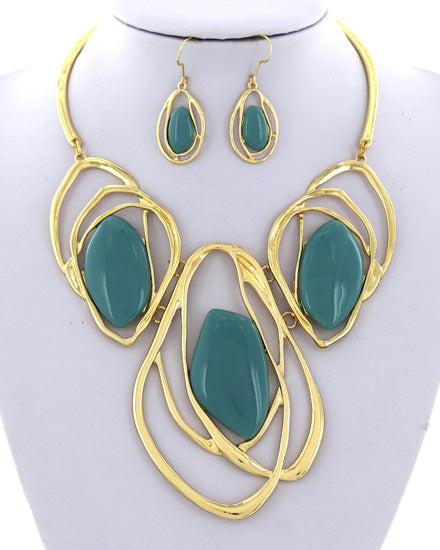 Gold/Turquoise Acrylic Graduating Necklace Set
