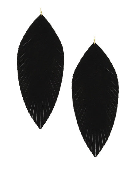 Black Leatherette Leaf Earring Set