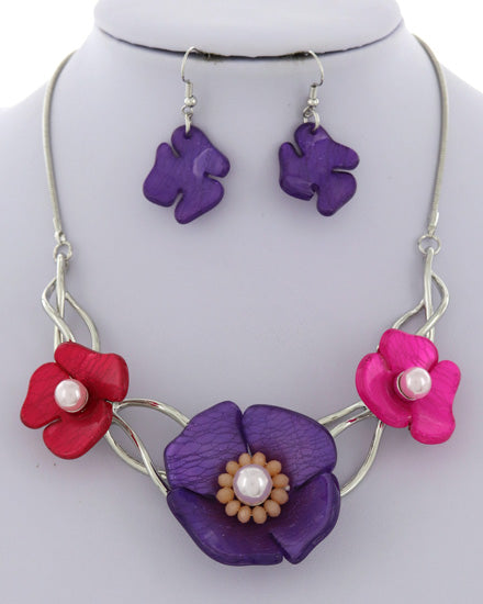 Purple/Fuchsia Flower Necklace Set
