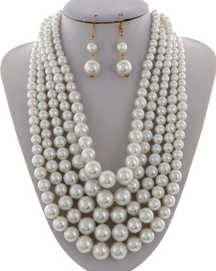 Classic Pearl Synthetic Necklace Set