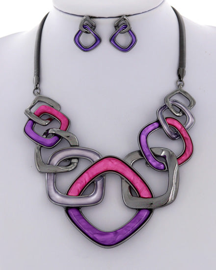We Belong Together Purple/Pink Necklace Set