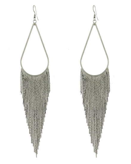 Rhodium Plated Mesh Dangle Earrings