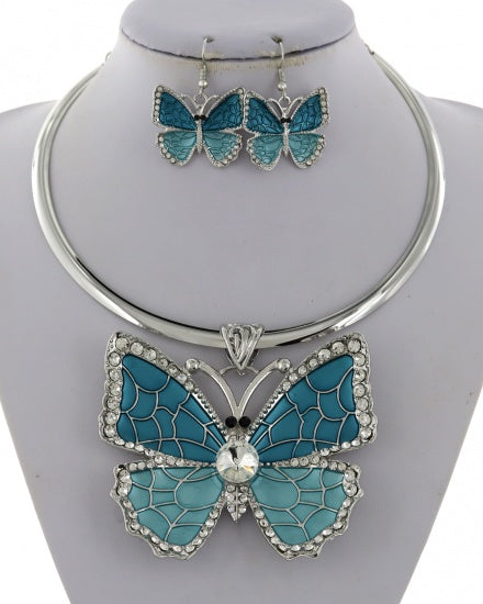Blue Butterfly Necklace Set