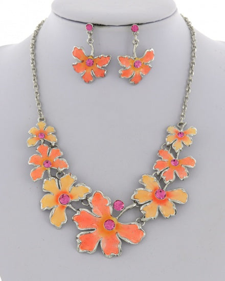 Peach/Pink Enamel Statement Necklace Set