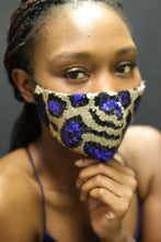 Load image into Gallery viewer, Gold/ Blue Fashion Mask