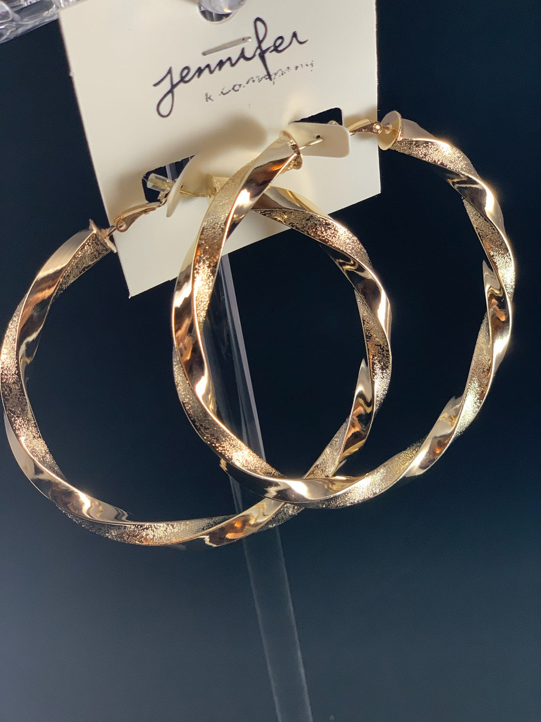 Gold Twisted Textured Metal Hoop Earrings