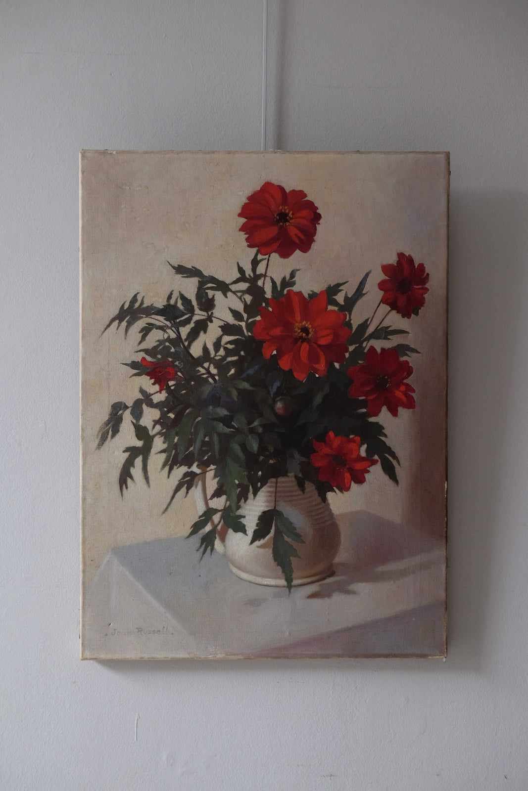 English Painting of Dahlias c.1950