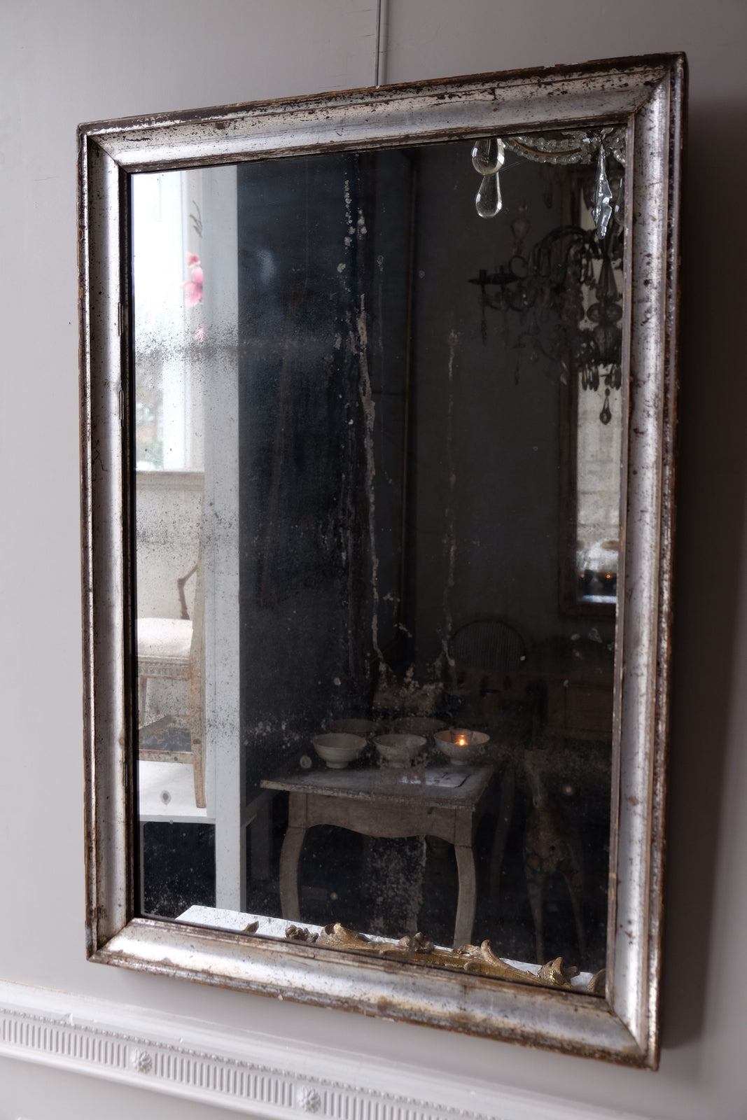Mid 19th C. French Silver Bistro Mirror