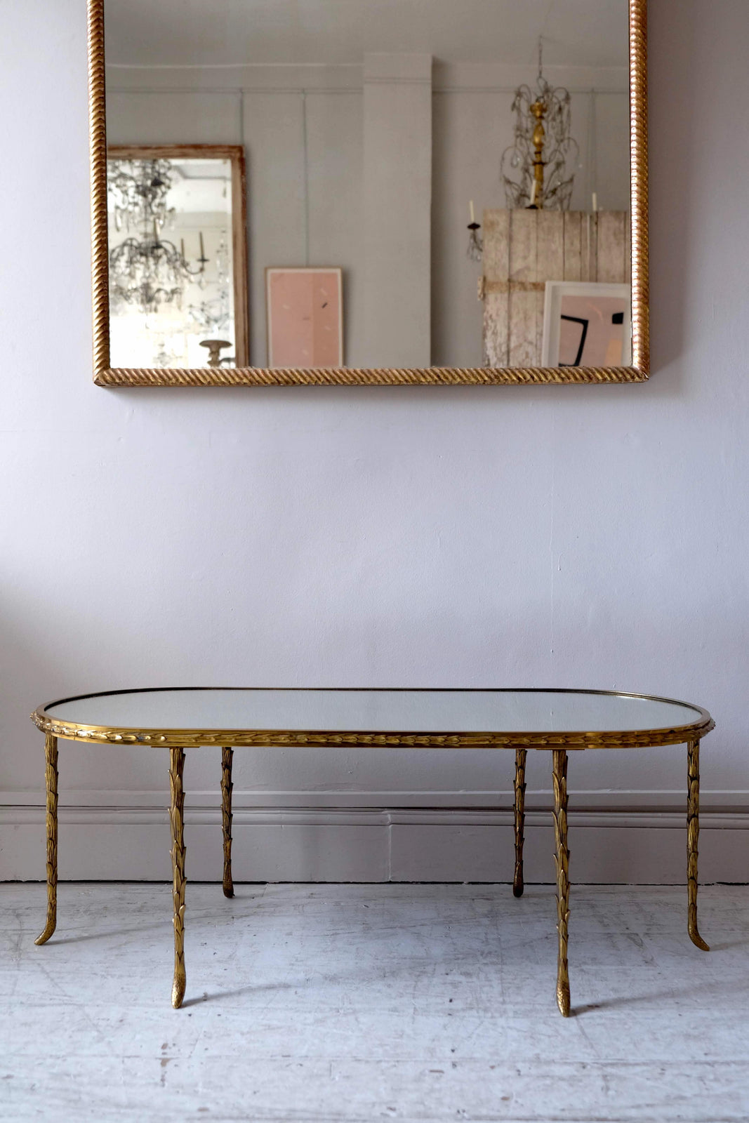 Mid 20th C. Mirror Top Coffee Table, Maison Bagues