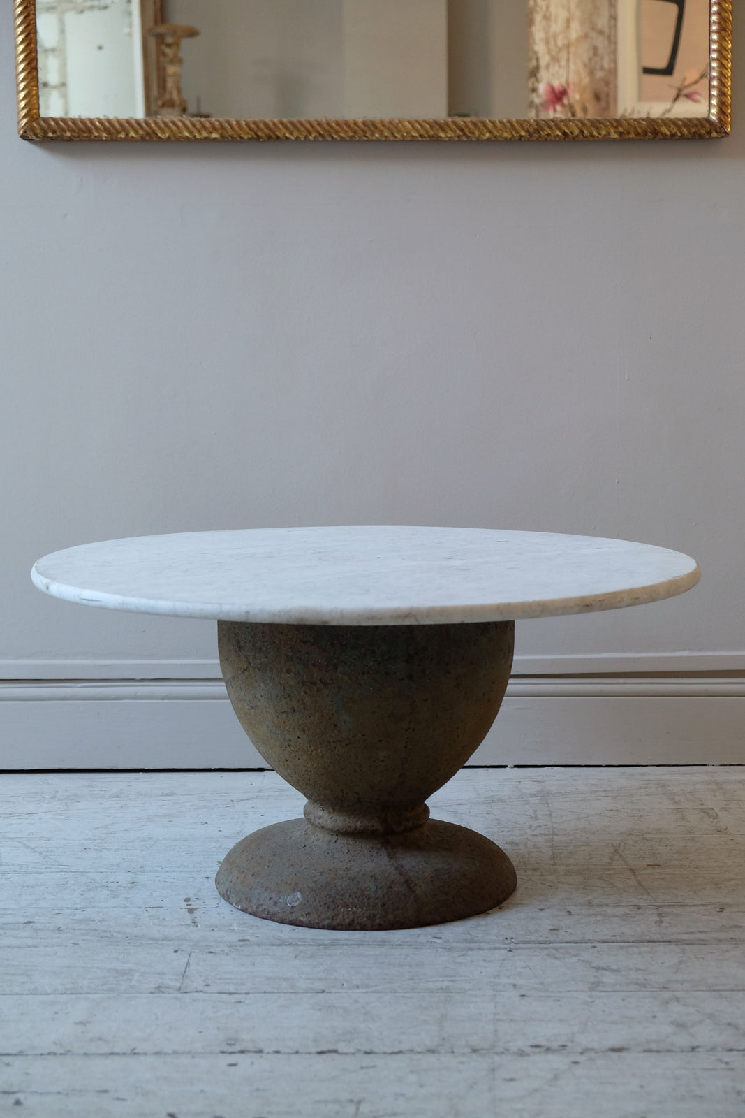 Late 19th C. Cast Iron Base Table with Antique Marble