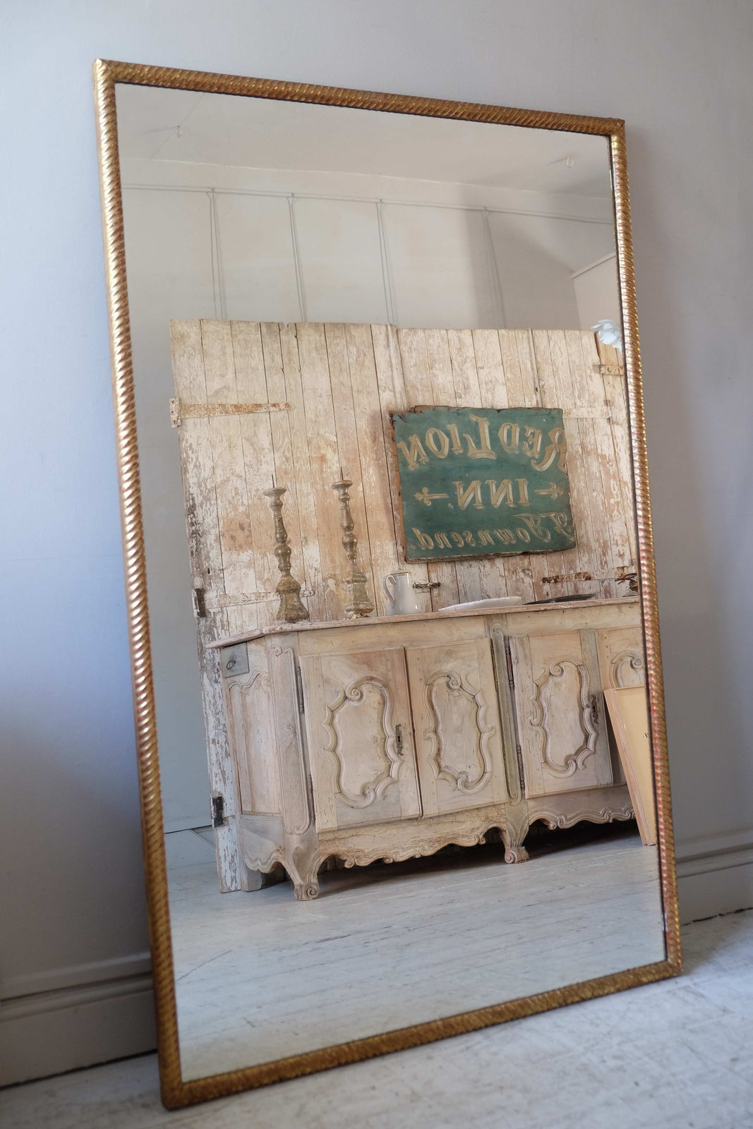 19th C. French Mirror with Rope Detail