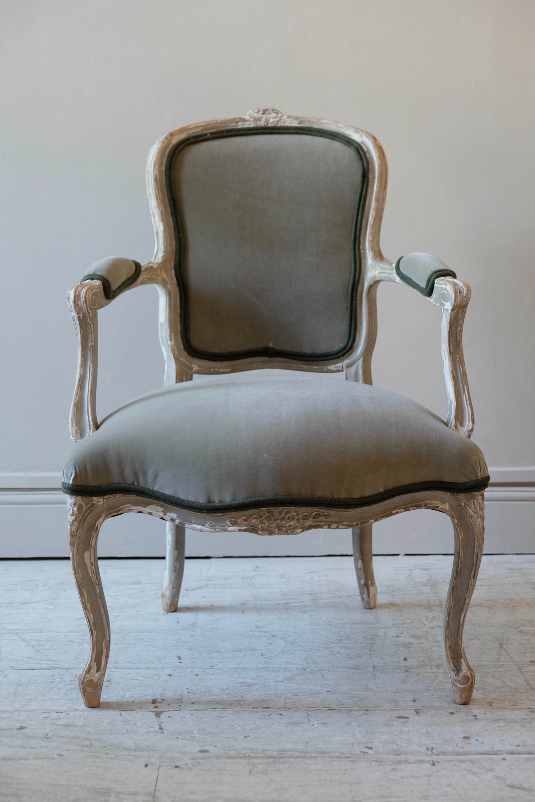 Pair of French of Late 19th C. Open Arm Chairs