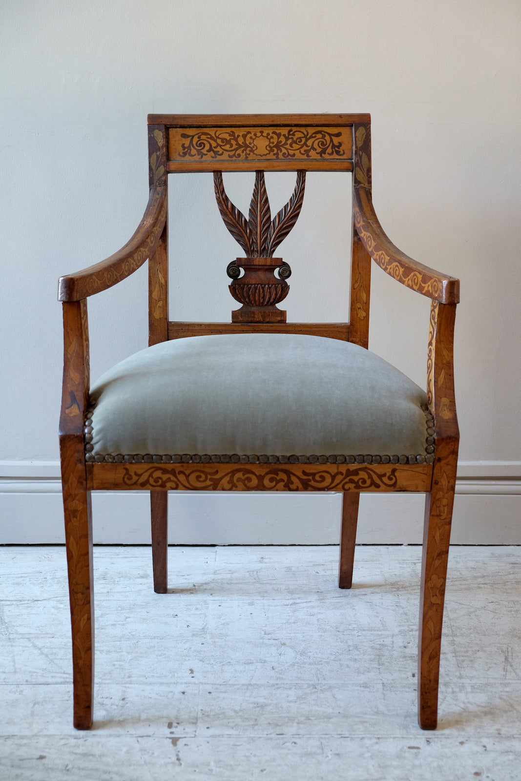 English 19th C. Desk Chair with Marquetry