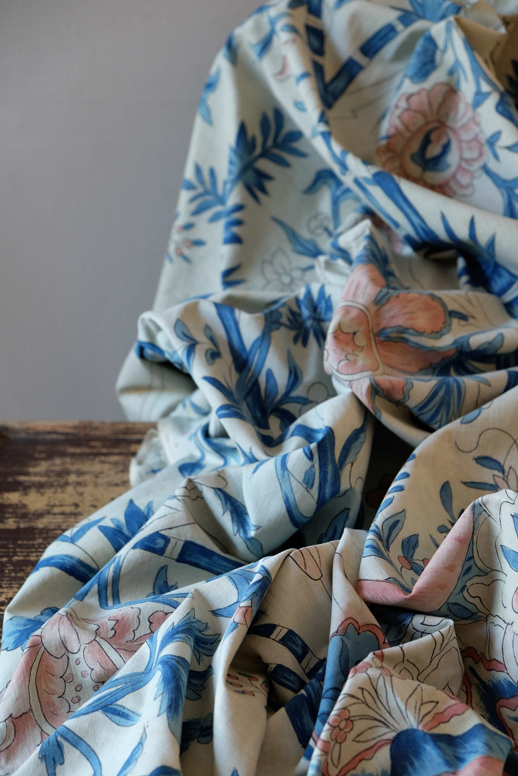 Late 19th C. French Fabric in Blue and White